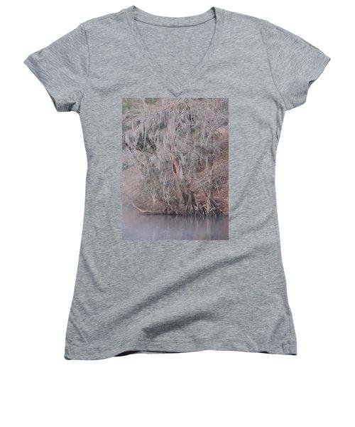Women's V-Neck T-Shirt (Junior Cut) featuring the photograph Flint River 2 by Kim Pate