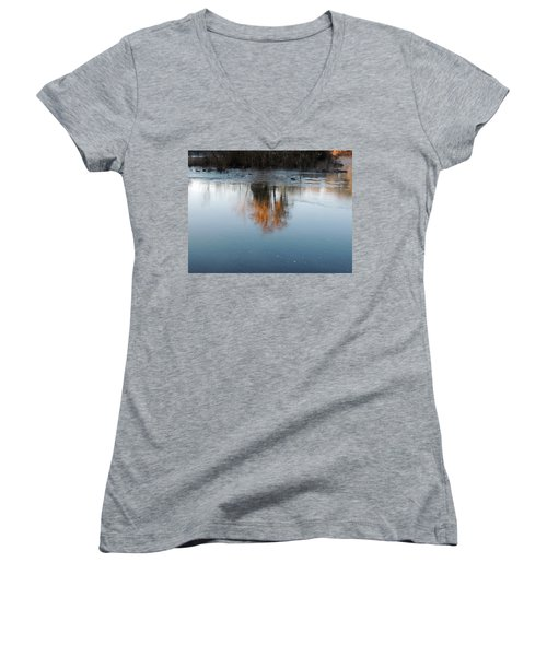 Women's V-Neck T-Shirt (Junior Cut) featuring the photograph Flint River 21 by Kim Pate