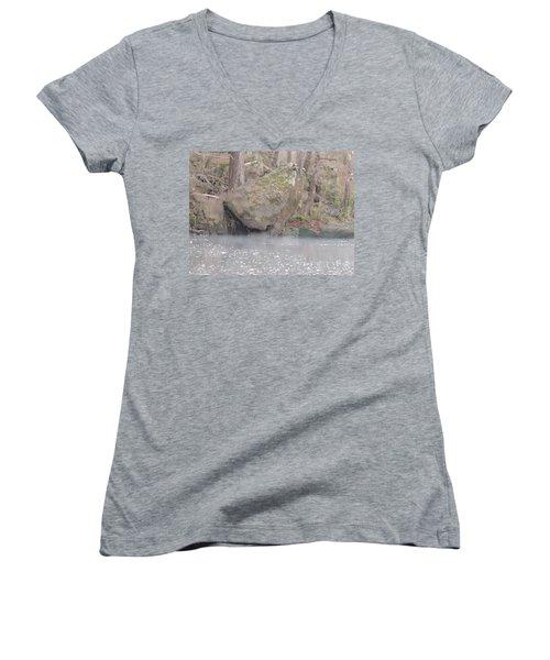 Women's V-Neck T-Shirt (Junior Cut) featuring the photograph Flint River 5 by Kim Pate