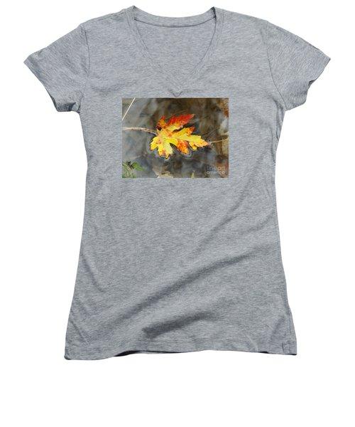 Floating Autumn Leaf Women's V-Neck T-Shirt