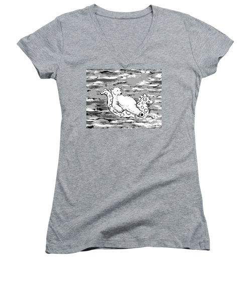 Floating Bear Grisaille Women's V-Neck T-Shirt (Junior Cut) by Holly Wood