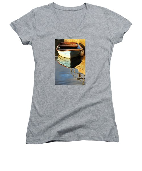 Floating On Blue 4 Women's V-Neck T-Shirt (Junior Cut) by Wendy Wilton