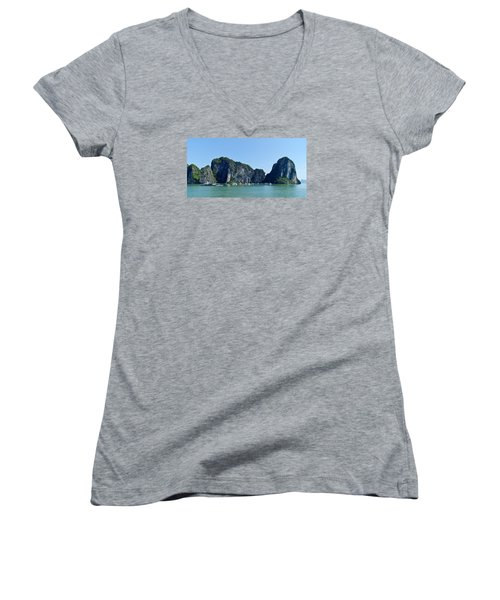 Floating Village Ha Long Bay Women's V-Neck T-Shirt (Junior Cut) by Scott Carruthers