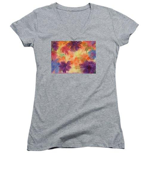 Floral Fantasy Women's V-Neck T-Shirt (Junior Cut) by Ellen Levinson