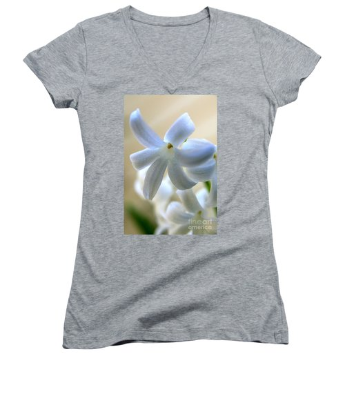 Floral Peace No.2 Women's V-Neck T-Shirt (Junior Cut) by Neal Eslinger