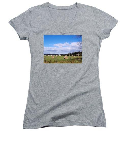 Women's V-Neck T-Shirt (Junior Cut) featuring the photograph Florida Hay Rolls by D Hackett