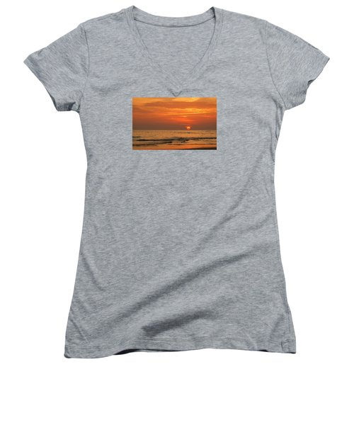 Florida Sunset Women's V-Neck T-Shirt (Junior Cut) by Sandy Keeton