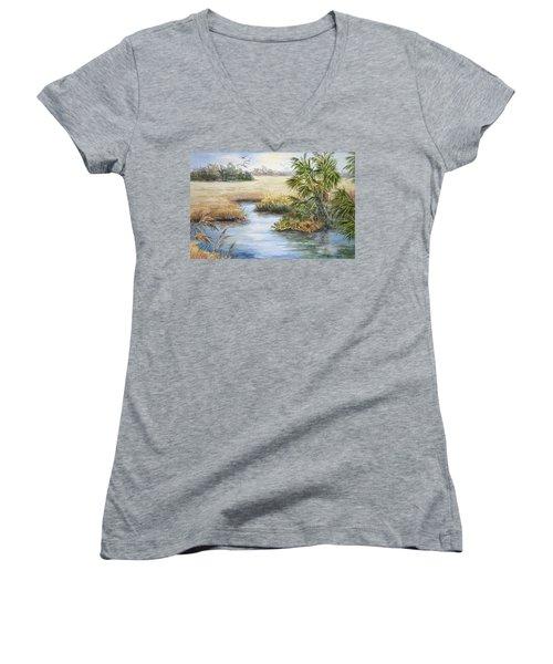 Florida Wilderness IIi Women's V-Neck T-Shirt (Junior Cut) by Roxanne Tobaison