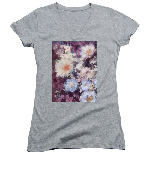 Women's V-Neck T-Shirt (Junior Cut) featuring the painting Flower  Burst by Richard James Digance