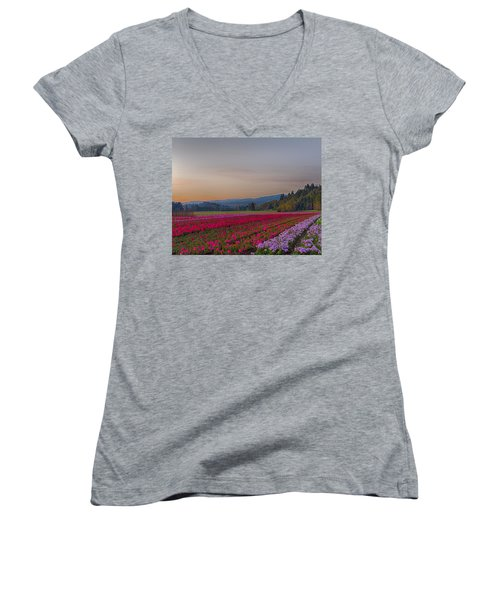 Flower Field At Sunset In A Standard Ratio Women's V-Neck T-Shirt