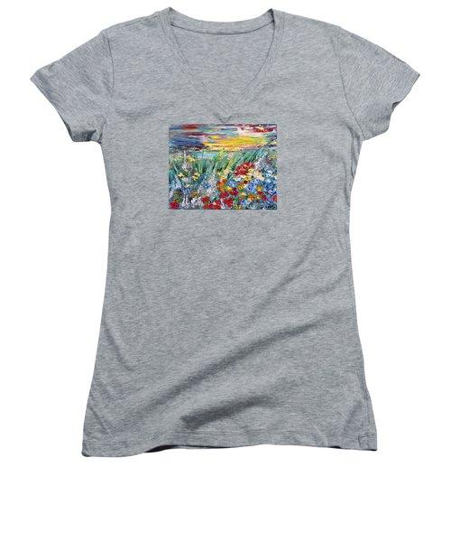 Flower Field Women's V-Neck T-Shirt (Junior Cut) by Teresa Wegrzyn