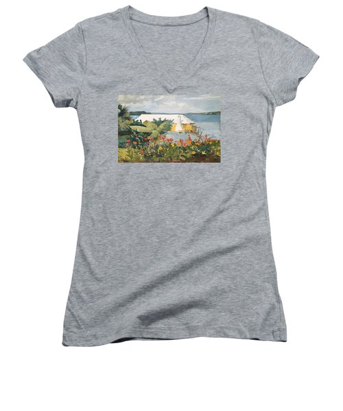 Flower Garden And Bungalow Women's V-Neck (Athletic Fit)