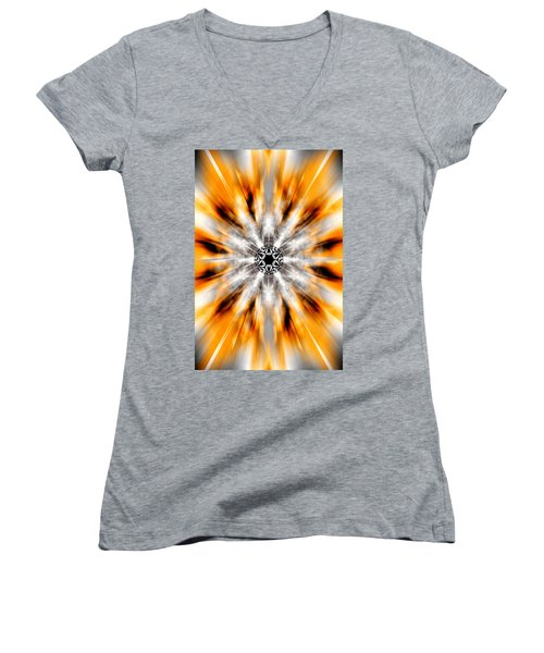 Women's V-Neck T-Shirt (Junior Cut) featuring the drawing Flower Grid Sixty-three by Derek Gedney