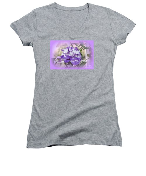Flower In A Haze Women's V-Neck T-Shirt (Junior Cut) by Linda Prewer