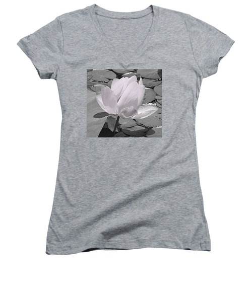 Flower Lilly Pad Women's V-Neck T-Shirt (Junior Cut) by Steve Archbold