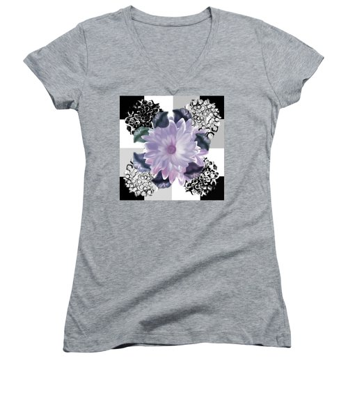 Flower Spreeze Women's V-Neck T-Shirt (Junior Cut) by Christine Fournier