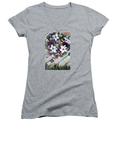 Women's V-Neck T-Shirt (Junior Cut) featuring the painting Floral Wreath by Mary Ellen Frazee