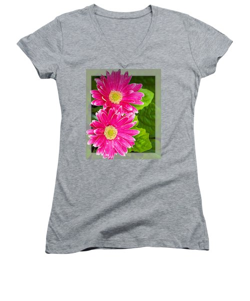 Flower1 Women's V-Neck T-Shirt