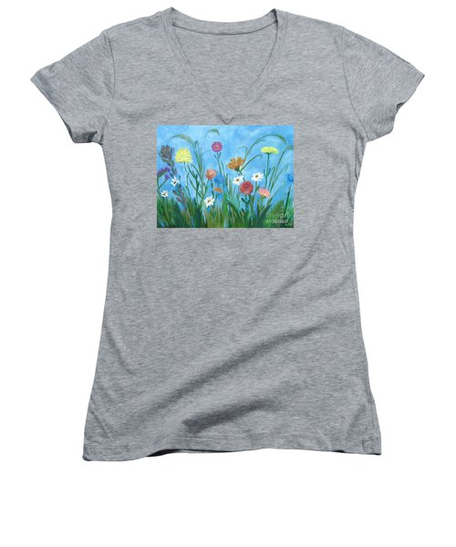 Flowers All Around Women's V-Neck (Athletic Fit)