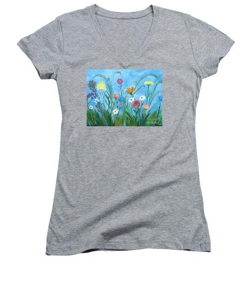 Flowers All Around Women's V-Neck T-Shirt