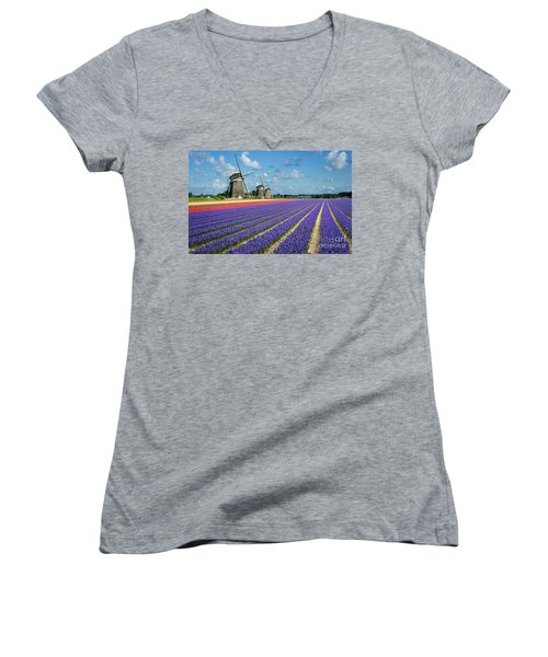 Landscape In Spring With Flowers And Windmills In Holland Women's V-Neck