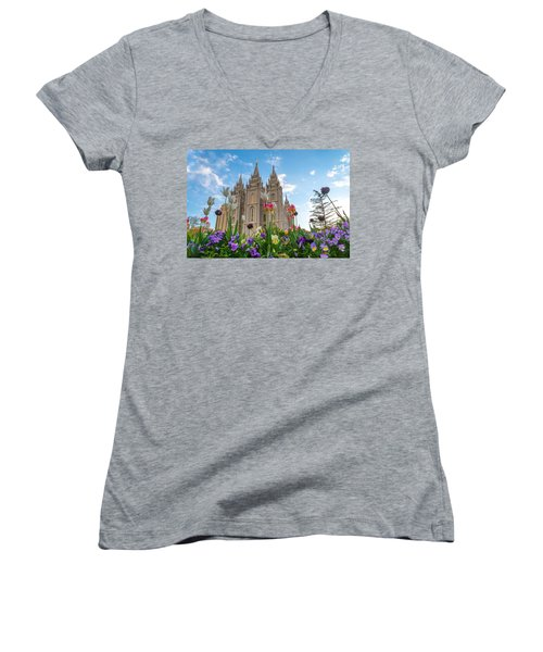 Flowers At Temple Square Women's V-Neck (Athletic Fit)