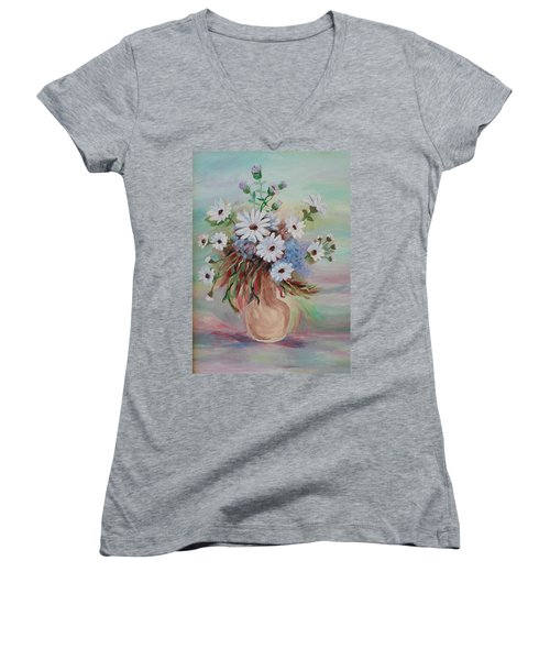 Women's V-Neck T-Shirt (Junior Cut) featuring the painting Flowers For Mom by Christy Saunders Church