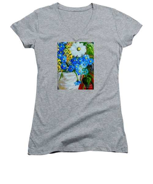 Flowers In A White Vase Women's V-Neck T-Shirt