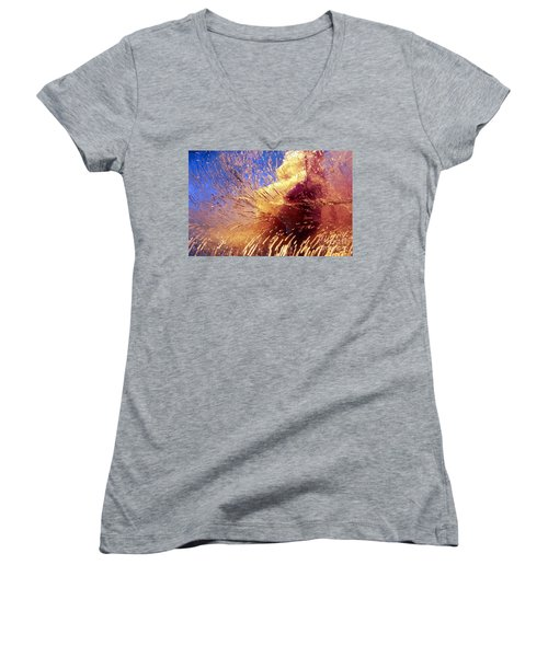 Women's V-Neck T-Shirt (Junior Cut) featuring the photograph Flowers In Ice by Randi Grace Nilsberg