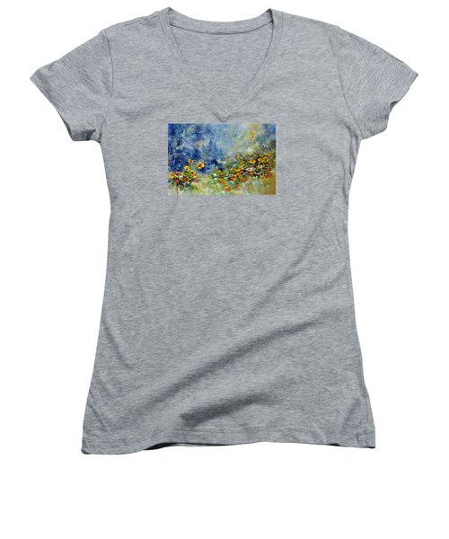 Women's V-Neck T-Shirt (Junior Cut) featuring the painting Flowers In The Fog by Craig T Burgwardt