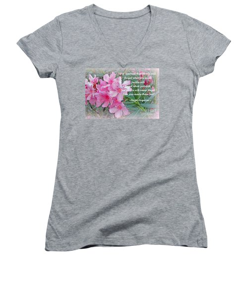 Flowers With Maya Angelou Verse Women's V-Neck T-Shirt (Junior Cut) by Kay Novy