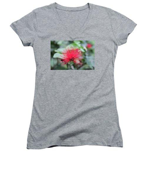 Women's V-Neck T-Shirt (Junior Cut) featuring the photograph Fluffy Pink Flower by Sergey Lukashin