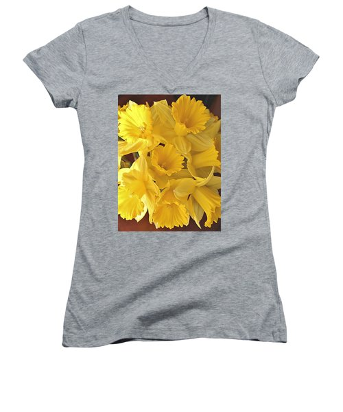 Women's V-Neck T-Shirt (Junior Cut) featuring the photograph Flurry Of Daffodils by Diane Alexander