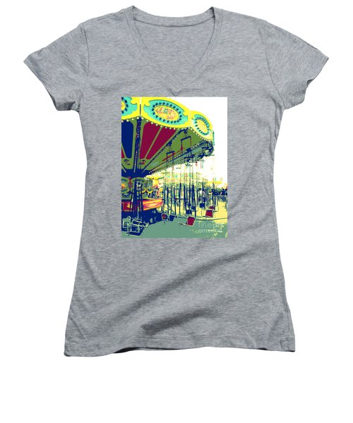 Women's V-Neck T-Shirt (Junior Cut) featuring the digital art Flying Chairs by Valerie Reeves