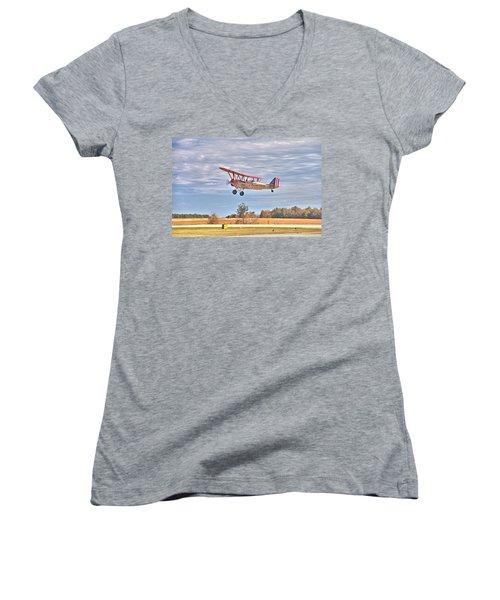 Flying Circus Barnstormers Women's V-Neck T-Shirt (Junior Cut) by Gordon Elwell