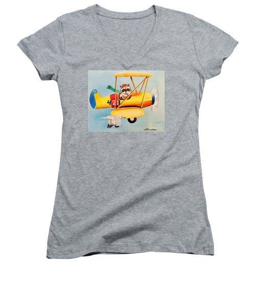 Women's V-Neck T-Shirt (Junior Cut) featuring the painting Flying Friends by LeAnne Sowa