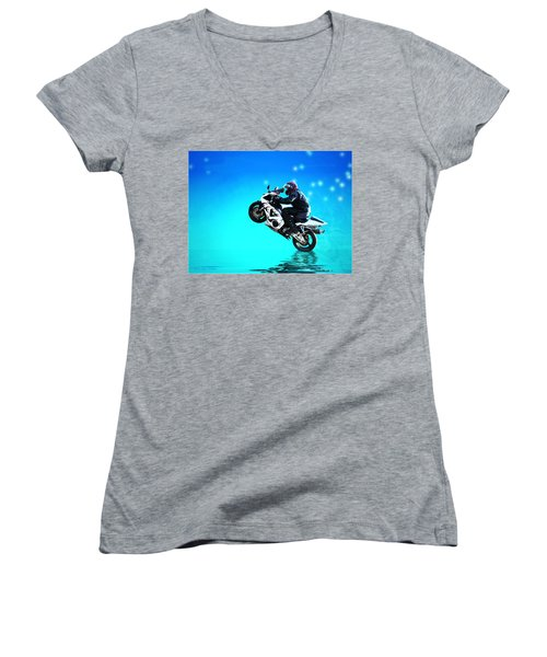 Women's V-Neck T-Shirt (Junior Cut) featuring the photograph Flying Low One More Time On Two Wheels by Joyce Dickens