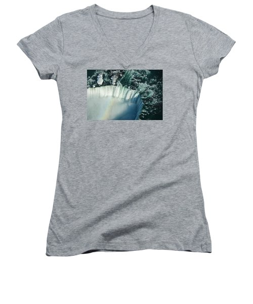 Flying Over Icy Niagara Falls Women's V-Neck T-Shirt