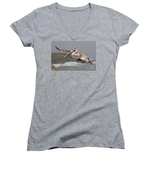 Flying Over La Jolla Women's V-Neck T-Shirt (Junior Cut) by Bryan Keil