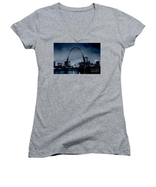 Fog Over St Louis Monochrome Women's V-Neck (Athletic Fit)
