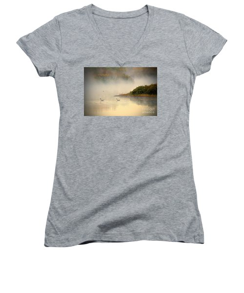 Foggy Autumn Swim Women's V-Neck T-Shirt (Junior Cut) by Elizabeth Winter