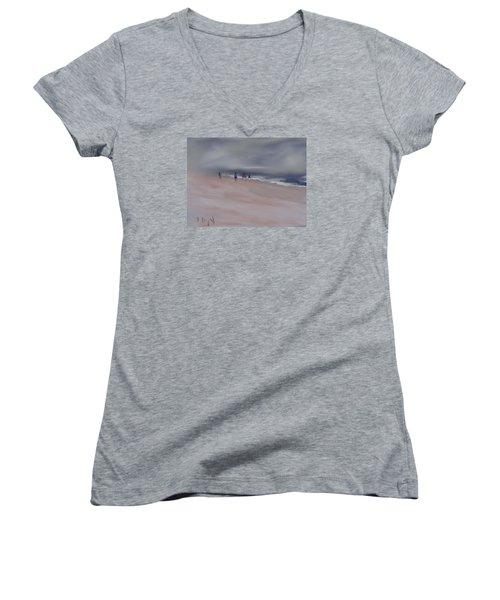 Fog On Folly Field Beach Women's V-Neck T-Shirt (Junior Cut) by Frank Bright