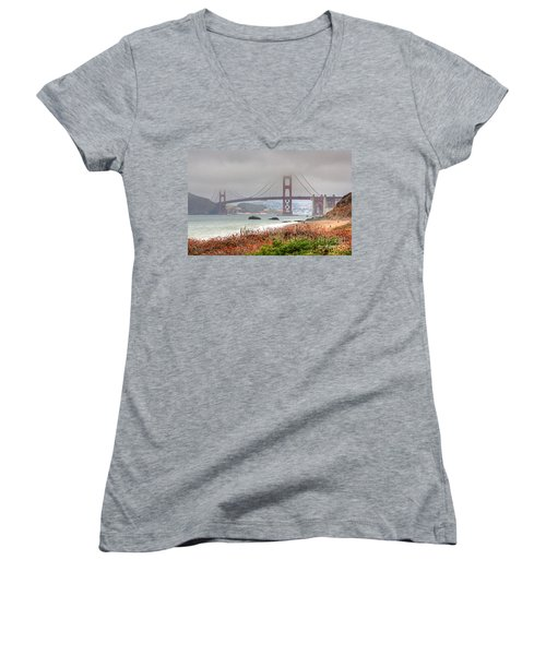 Foggy Bridge Women's V-Neck (Athletic Fit)