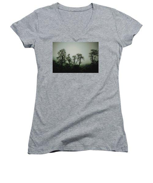 Women's V-Neck T-Shirt (Junior Cut) featuring the photograph Foggy Mountain Morning At The Meadows Of Dan by John Haldane