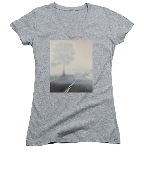 Women's V-Neck T-Shirt (Junior Cut) featuring the painting Foggy Road by Tim Mullaney