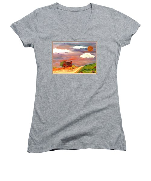 Women's V-Neck T-Shirt (Junior Cut) featuring the painting Folk Art by Bobbee Rickard