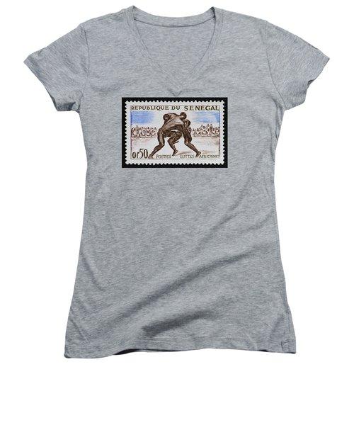 Folk Wrestling Vintage Postage Stamp Print Women's V-Neck T-Shirt (Junior Cut) by Andy Prendy