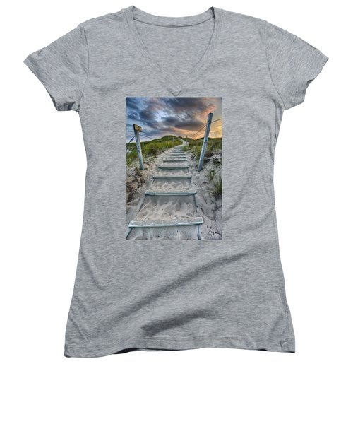 Women's V-Neck T-Shirt featuring the photograph Follow The Path by Sebastian Musial
