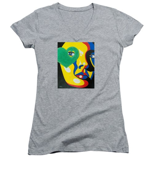 Women's V-Neck T-Shirt (Junior Cut) featuring the painting Follow Your Heart by Susan DeLain