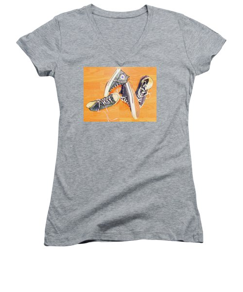 Following In The Footsteps Women's V-Neck T-Shirt (Junior Cut) by Greg Simmons